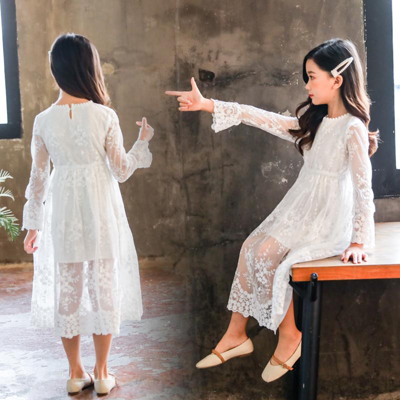 女童连衣裙春秋薄款中大童公主纯棉蕾丝雪纺网纱夏装长袖儿童白色