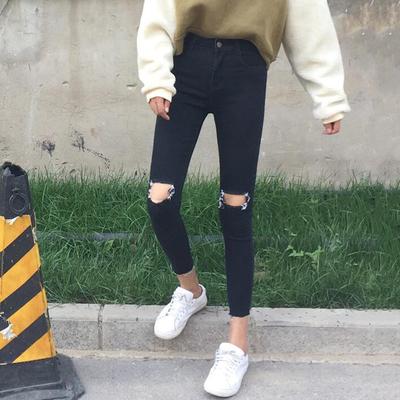 脚口毛边破洞黑色小脚牛仔裤女2019秋季韩版弹力显瘦修身九分裤潮