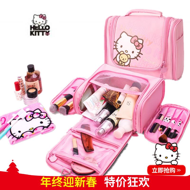 正版Hello Kitty旅行洗漱包 女可爱大容量三开门化妆包旅游收纳袋3元优惠券