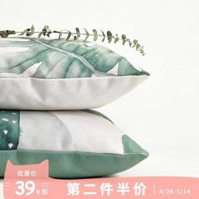 绘本 北欧风格沙发办公室床头植物抱枕套不含芯靠枕靠垫正方形