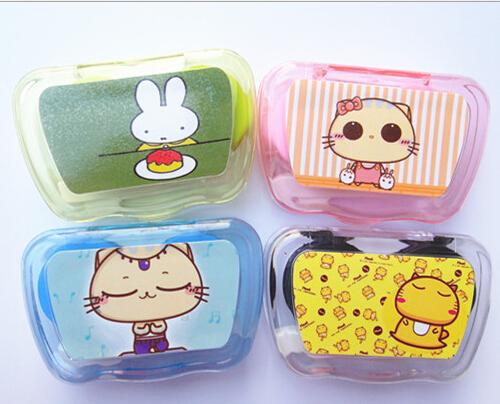 卡通带镜子隐形眼镜伴侣盒/美瞳护理眼镜盒美瞳盒