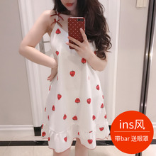 Nightdress female summer sexy girl sling cotton pajamas with chest pad bra underwear cute fresh student home service