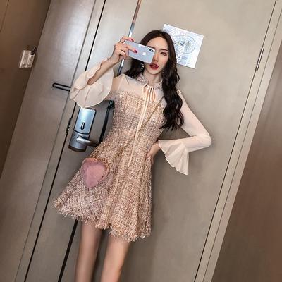 2018秋季新款时尚韩版修身裙子气质仙女裙雪纺长袖打底连衣裙女潮
