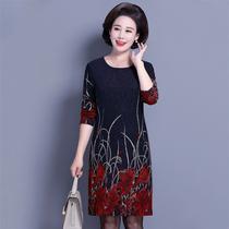 中老年女装秋冬装中长款长袖连衣裙40-50岁妈妈装大码加绒打底衫