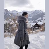 中长款 冬季白鸭绒宽松时尚 毛领外套 反季清仓羽绒服女2019新款 爆款图片