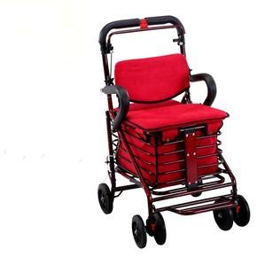 老人手推代步购物车可坐买菜加宽加大简易轮椅轻便折叠四轮小拉车