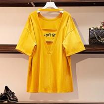 胖妹妹适合肚子胖的衣服大码女装微胖短袖T恤露背遮肚上衣打底衫