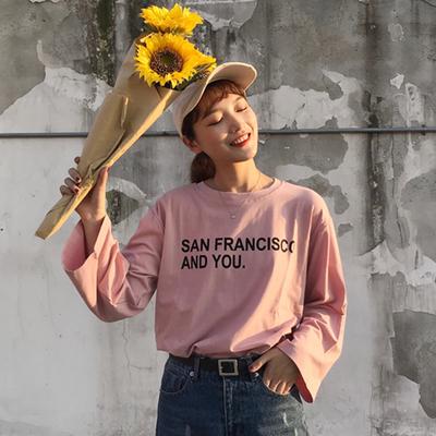 秋装2017新款韩版百搭字母印花宽松圆领长袖T恤上衣打底衫女学生