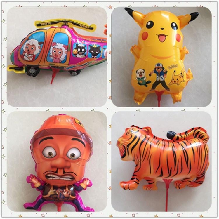 铝膜气球托杆儿童生日卡通手持棒派对可爱地推多款玩具棒批發免邮