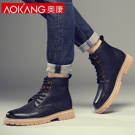 奥康马丁靴男靴子潮冬季男鞋加绒中帮工装靴英伦风复古百搭皮靴男商品大图
