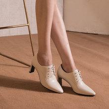 奥康女鞋 2019秋季新款羊皮尖头系带女单鞋高跟粗跟简约纯色女鞋图片