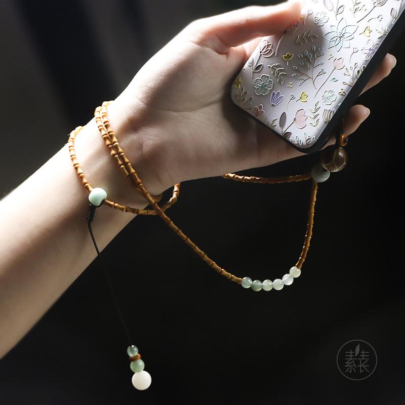 手机链挂绳 短手腕绳女款 个性创意 素生长手机挂饰菩提手机链女