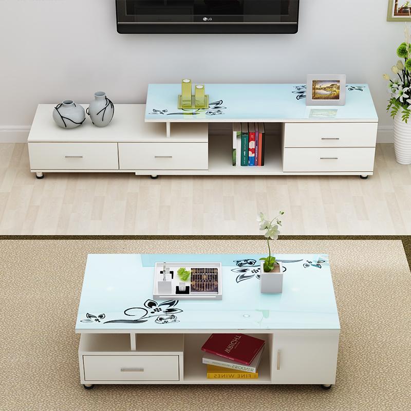 雪艳简约现代钢化玻璃电视柜茶几组合小户型客厅电视机柜套装伸缩