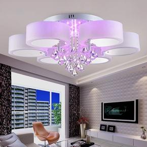 圆形现代简约艺术客厅卧室水晶吸顶灯具 彩光创意LED变色吊餐厅灯