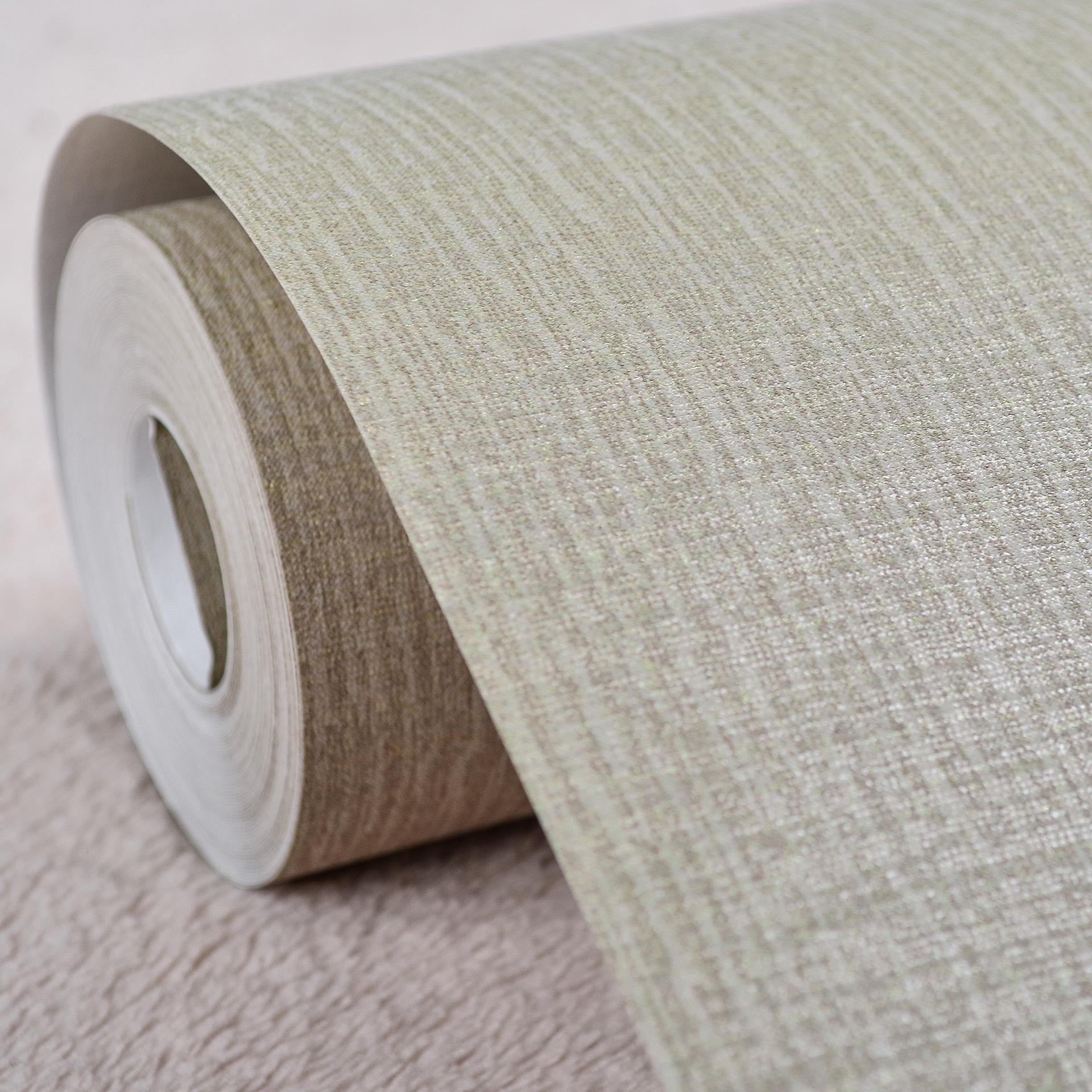 纯色素色亚麻布纹仿草编墙纸 灰色米色条纹壁纸 卧室电视背景墙纸