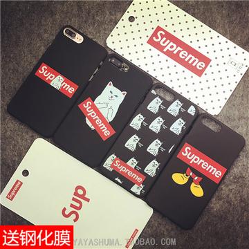 潮牌Supreme中指贱猫iphone6plus手机壳苹果7plus磨砂硬壳5s外壳7