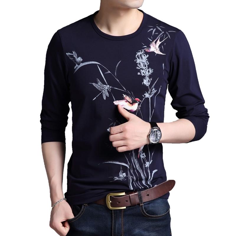 男士长袖T恤薄款2019春季新款纯棉圆领时尚体血衣服爸爸男装