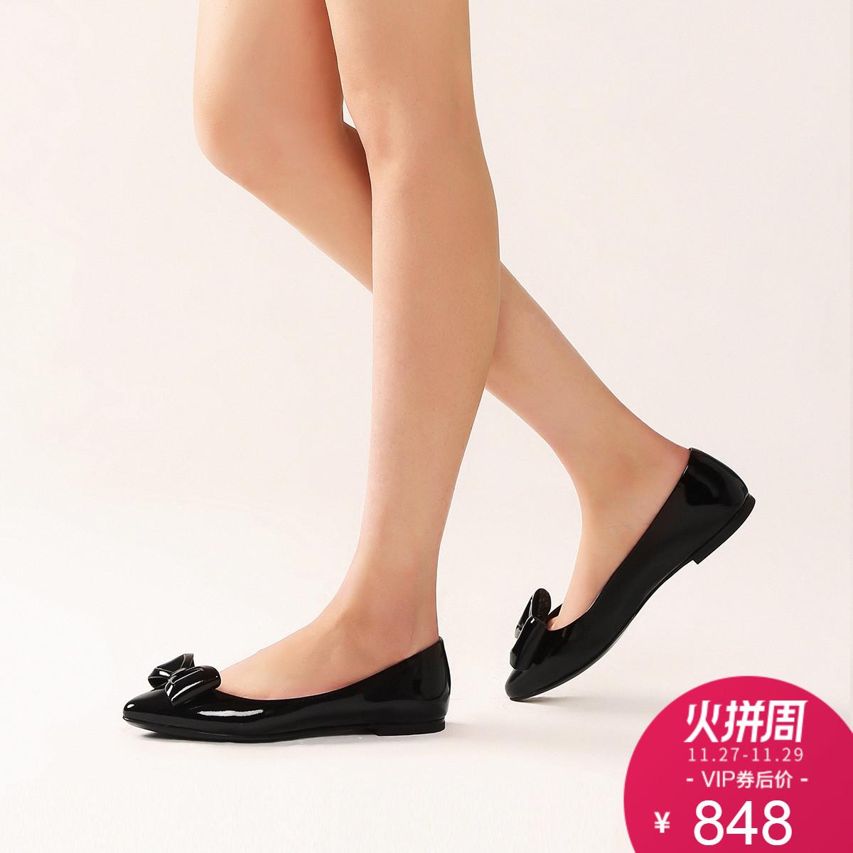STELLA LUNA亮面蝴蝶结女鞋尖头芭蕾舞鞋平跟浅口单鞋SF334L40319