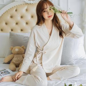 中式汉服睡衣女春秋长袖纯棉性感系带复古宫廷风全棉质家居服套装