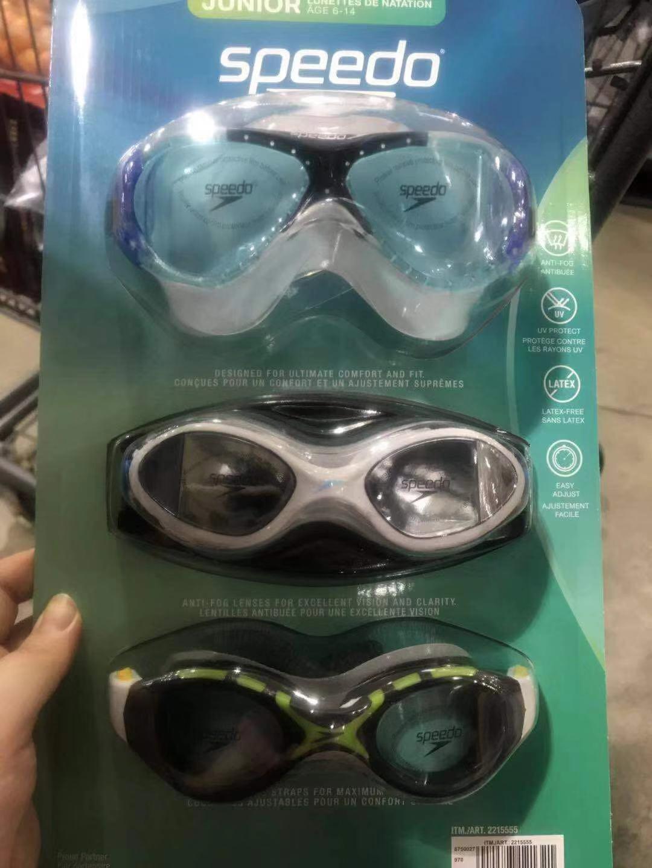 加拿大代购 speedo儿童青少年游泳眼镜3付一套(6-14岁)
