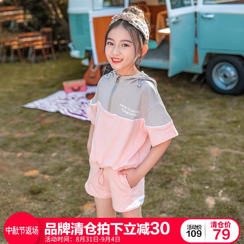 女童套装2019夏装新款超洋气儿童装大童夏季时髦时尚运动两件套潮