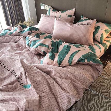 ins风全棉四件套纯棉水洗棉床上用品学生宿舍三3件套床单双人被套