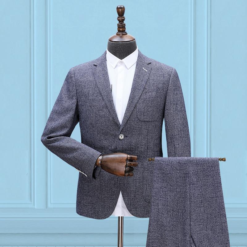 薄款西服套装九分裤男休闲商务英伦风套西潮牌夏季新品时尚小西装