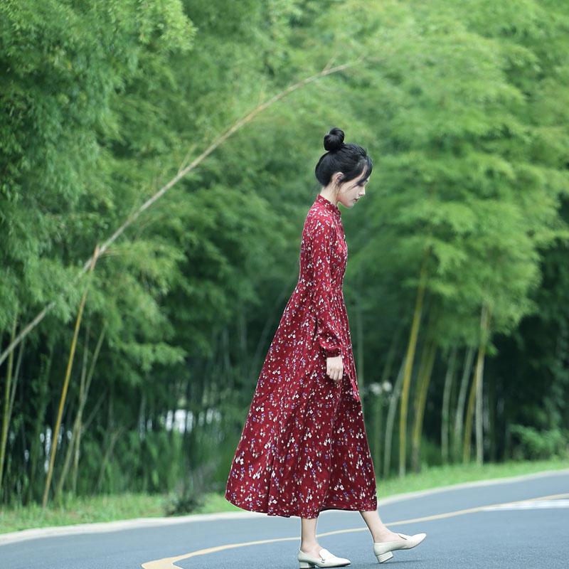 棉麻长袖连衣裙修身