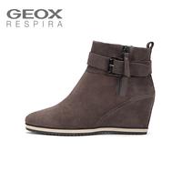 GEOX/健乐士女士靴子短靴女坡跟内增高透气短靴D6454A