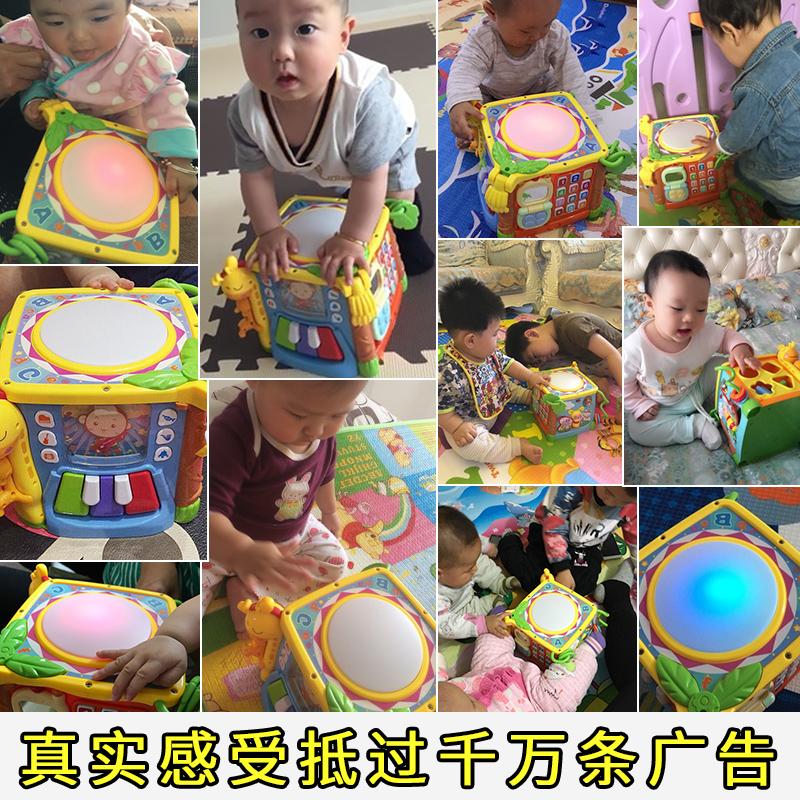 谷雨六面盒手拍拍鼓10个月婴儿哄睡音乐益智玩具费雪声光安抚海马