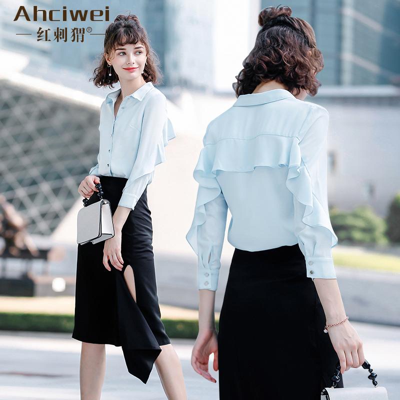 雪纺衬衫女设计感小众春装2019新款韩版荷叶边衬衣长袖宽松上衣潮