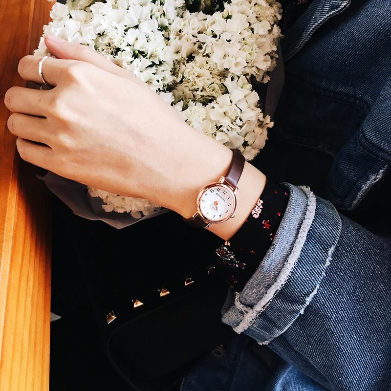 手表女学生韩版简约女生时尚复古文艺小清新小表盘圆形细带表女款