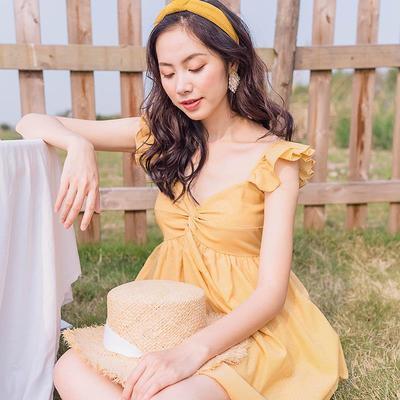 2018夏复古小清新仙女黄色高腰露背渡假吊带蓬蓬裙短裙子连衣裙