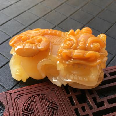 黄龙玉貔貅手把件琵琶黄霸王貔貅挂件云南正品纯天然玉石雕刻摆件