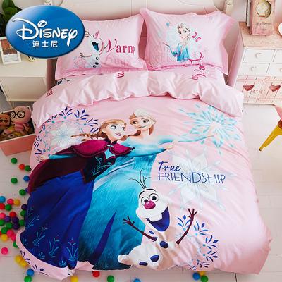 冰雪奇缘纯棉卡通四件套全棉艾莎公主被套床单儿童床上用品三件套