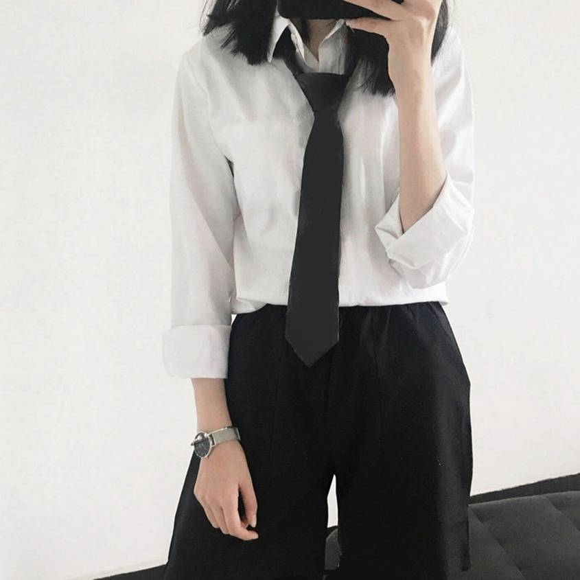 Japanese shirt student uniform cool college wind wild big size tie plus velvet soft sister less