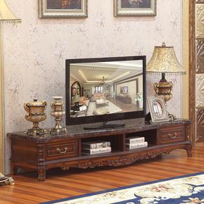 复古欧式电视柜 纯实木电视机柜2/2.2 2.4米美式乡村新古典电视柜