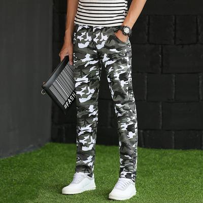 夏季男士迷彩裤直筒修身小脚弹力军装裤特种兵工装薄款休闲长裤子