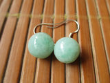 Old pit Myanmar natural jade earrings Big apple jade drop earrings green a jade silver female earrings