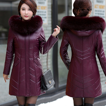 Haining Leather Dress Female Genuine Leather Down Dress Mid-long Winter New Type Mid-aged Mother Wearing Large Size Fur Thick Coat