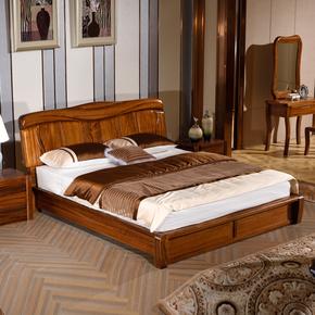 实木床乌金木床现代中式1.8米双人大床卧室家具厂家直销五包到家