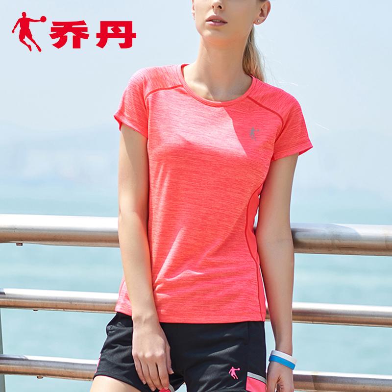 乔丹短袖t恤女2019春夏新款正品透气半袖粉色t恤女休闲运动短袖