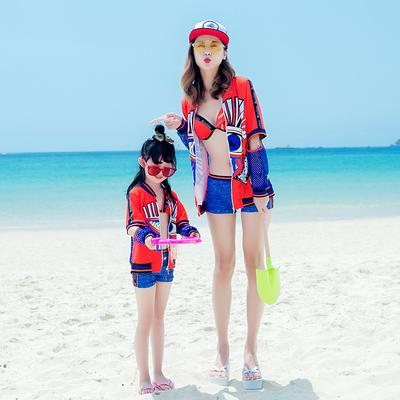 2018新款韩国亲子泳装比基尼三件套时尚女游泳衣中大女童防晒温泉