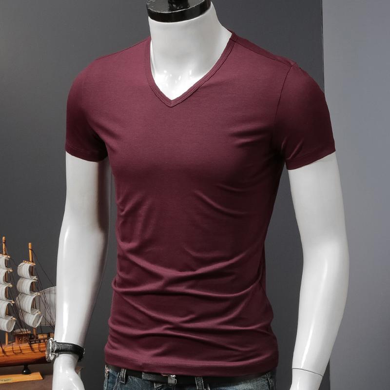 2件】短袖t恤男士莫代尔夏季冰丝V领修身上衣服纯色紧身半袖潮流