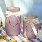 常青藤彩色磨砂爱心玻璃花瓶简约花瓶居家摆件台面装饰办公桌绿植