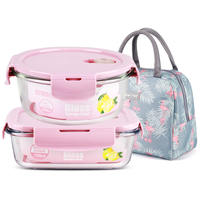 Microwave lunch box set student separate glass heating bowl storage box office worker insulation lunch box lunch box