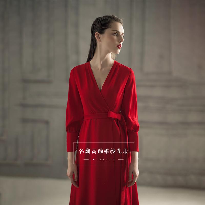 红色礼服裙2018新款新娘结婚回门服中长款生日派对名媛聚会连衣裙