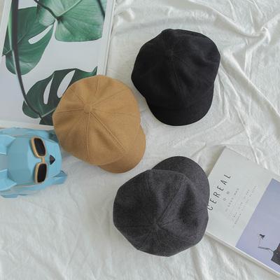 韩版男童毛呢帽子儿童鸭舌帽画家帽子大童八角帽复古贝雷帽保暖秋