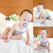 婴儿衣服夏季新款童装男女童0-3个月条纹百搭三角爬服宝宝连体衣