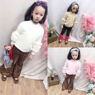 韩国童装秋冬季新品女童欧美洋气纯色短款圆领针织貂绒毛毛衣